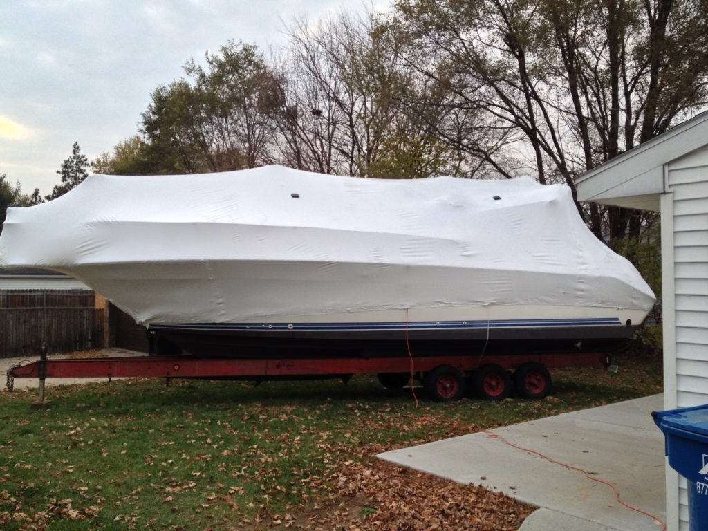 sailboat shrink wrapped