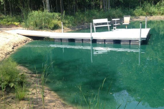 floating dock on pond